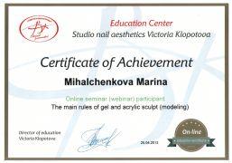 сертификат мастера Михальченковой Марины